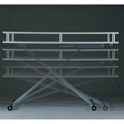 棚付き昇降式テーブル 幅120cm ~POINT~ 天板高さを47~83.5cmに無段階で調節できます