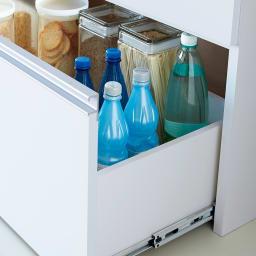 大型レンジ対応ステンレスクリーンキッチン キッチンボード 幅119cm 最下段引き出しの可動棚を外せば背の高い物も収納できます。