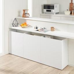 隠せるカウンター下収納 棚タイプ 幅79高さ66cm コーディネート例(イ)ホワイト