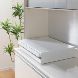 家電周りでの調理をサポートするレンジ下スライドテーブル 引き出し付き 幅45高さ10cm