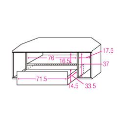 お掃除がしやすい天然木調コーナーテレビ台・テレビボード 幅120cm 内寸図