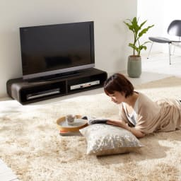 曲面加工のラウンドシェルフシリーズ テレビ台・テレビボード 1段2連 幅120cm 高さ21cm脚なしタイプ フロアライフにもちょうどいい低さ。