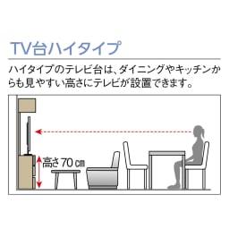 奥行34cm薄型なのに収納すっきり!スマート壁面収納シリーズ テレビ台 ハイタイプ 幅90cm 【オススメ1】少し高めの約70cmにテレビが置けるハイタイプ!ダイニングチェアや背の高いソファに座った時や、離れたキッチンからTVが見やすい高さ設計です。