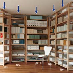 国産杉頑丈突っ張りラック(本棚) 幅119奥行38cm 棚板は厚さ3cmの頑丈な造り。