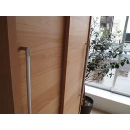 組立不要 アルダー引き戸頑丈本棚 幅90.5cm ハイタイプ スタイリッシュな取っ手。