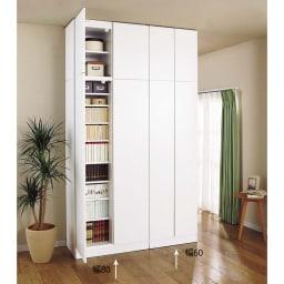 壁面書棚リフォームユニット 本体 幅60奥行44高さ180cm ≪組合せ例≫ (イ)前面:ホワイト・本体:ホワイト ※写真は、本体と上置きの組合せです。(左)幅80cmタイプ、(右)幅60cmタイプです。