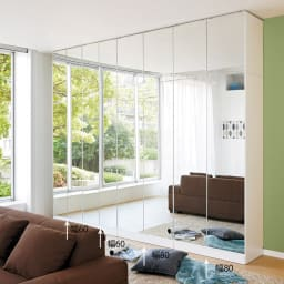 壁面書棚リフォームユニット 本体 幅80奥行44高さ180cm ≪組合せ例≫ ※写真は、本体と上置きの組合せです。(左から)幅60cmタイプ×2、(右)幅80cmタイプ×2です。 ※写真は天井高さ240cmです。