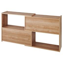 天然木調 伸縮式ブックシェルフ 2段・幅90~155cm (ア)ブラウン