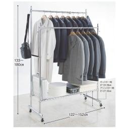 プロ仕様 伸縮頑丈ハンガーラック シングルタイプ 幅92~122cm スーツや厚手のコートの収納でお困りの方におすすめのしっかりした作りの収納ハンガーです。 ※写真はダブルタイプ幅122~152cmです。