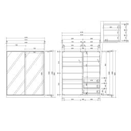 【日本製】引き戸式ミラーワードローブ 棚タイプ 幅148cm 詳細図