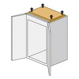 【日本製】引き戸式ミラーワードローブ  高さオーダー対応上置き 引き戸タイプ 幅77.5cm(高さ26~90cm) 上置きは面で突っ張るので安心です。