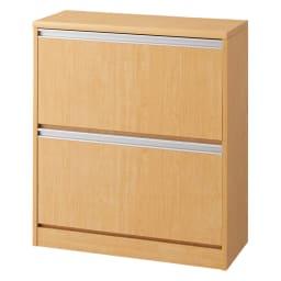 可動仕切り板でたっぷり入るフラップ式シューズボックス 2段 (ウ)ナチュラル