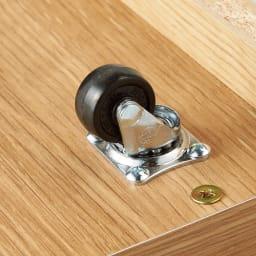 【日本製】下駄箱下木製シューズワゴン ロー(高さ20cm) 幅100cm 床を傷付けにくく静音に配慮したゴム製キャスター付き。