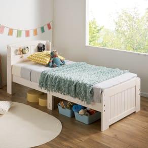 【セミシングル・ポケットマット付き】高さ2段タイプ ナチュラルカントリーなすのこベッド 写真