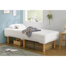 洗えるカバー付き 国産ポケットコイル脚付マットレスベッド