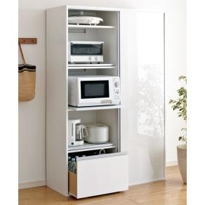 全部隠せる スライド棚付きキッチン家電収納庫 ハイタイプ 写真