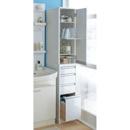 豊富なサイズから選べる 光沢仕上げすき間収納庫 幅20cm・奥行45cm スライド棚と引き出し収納で洗面所まわりがスッキリ。