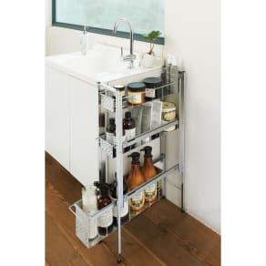 ステンレス洗濯機サイドラック 3段 幅17.5cm高さ80.5cm 写真