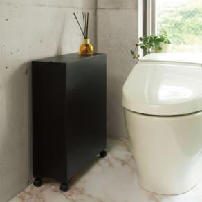 トイレ用品が清潔に収納できる 薄型トイレ収納庫 幅17cm奥行50cm高さ57cm 写真