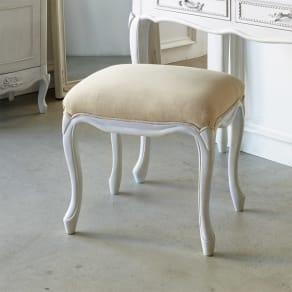 シャビーシック ホワイト フレンチ収納家具シリーズ スツール 写真