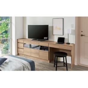 省スペースホテルライク ハイタイプテレビ台シリーズ 幅サイズオーダーデスク 幅70cm~90cm 写真