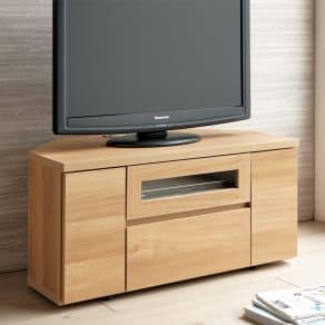 お掃除がしやすい天然木調コーナーテレビ台・テレビボード 幅90cm 写真