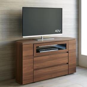 お掃除がしやすい天然木調コーナーテレビ台・テレビボード ハイタイプ 幅120cm 写真