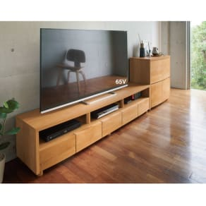 アルダー天然木アールデザインテレビ台・テレビボード 幅204cm 写真