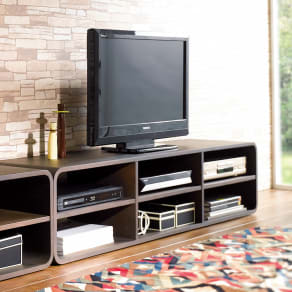 曲面加工のラウンドシェルフシリーズ テレビ台・テレビボード 2段3連 幅165cm 高さ39cm脚なしタイプ 写真