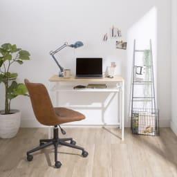木目調シンプルパソコンデスク幅91cm奥行46cm コーディネート例(イ)ナチュラル・ホワイト ※お届けはデスク幅91cmのみです。