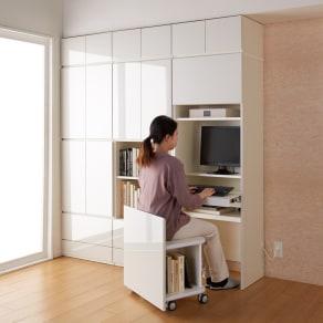 【パモウナ社製】使いやすさを考えた美しいシステム収納 パソコンデスクキャビネット 幅60cm 写真