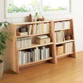 【幅120cm高さ89.5cm】播磨の国からの贈り物 国産杉 棚板頑丈薄型書棚 写真
