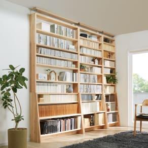【幅120cm本体高さ234cm】播磨の国からの贈り物 国産杉 棚板頑丈薄型書棚 天井突っ張りタイプ 写真