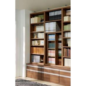 タイプが選べるコミック書棚 チェスト付きスライド本棚 幅75cm高さ228cm 写真