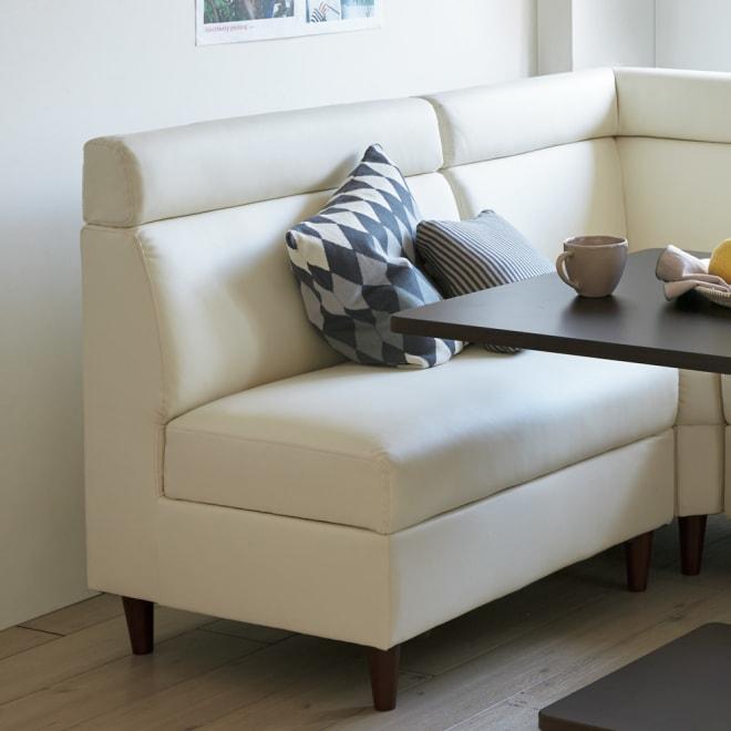 収納付きソファダイニング ソファ 幅85cm 使用イメージ(ア)ホワイト