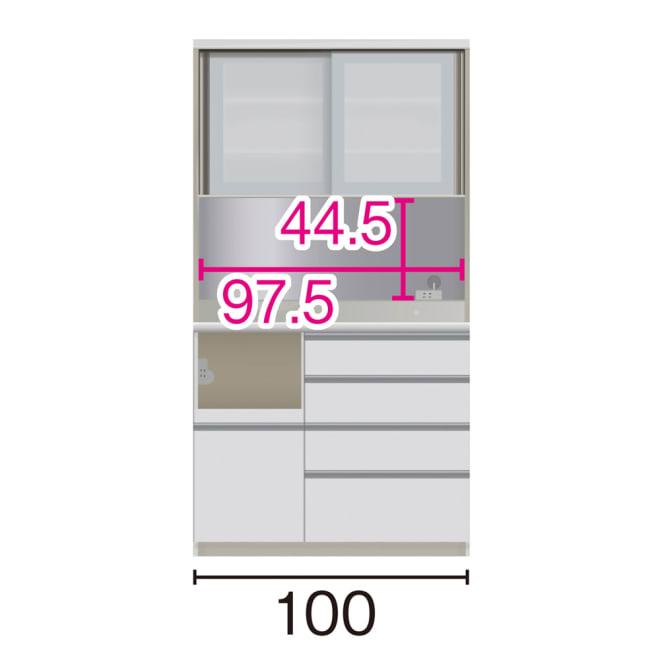 サイズが豊富な高機能シリーズ ダイニング家電収納 幅100奥行50高さ187cm/パモウナ JZL-1000R JZR-1000R (イ)家電収納の位置:左 ※赤文字は内寸、黒文字は外寸表示です。(単位:cm) オープン部奥行46 スライドテーブル部幅34.5高さ28.9奥行44cm