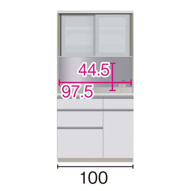 サイズが豊富な高機能シリーズ ダイニング深引き出し 幅100奥行45高さ198cm/パモウナ VZA-S1000R ※赤文字は内寸、黒文字は外寸表示です。(単位:cm) オープン部奥行40.5cm