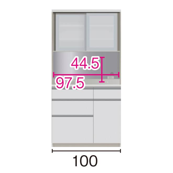 サイズが豊富な高機能シリーズ ダイニング深引き出し 幅100奥行50高さ198cm/パモウナ VZA-1000R ※赤文字は内寸、黒文字は外寸表示です。(単位:cm) オープン部奥行46cm