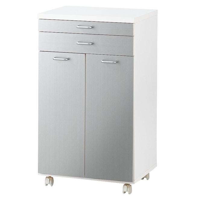 ふた開閉機能付きダストボックス 2分別横型ゴミ箱 扉を開けると、ゴミ箱ペールのふたが勝手に開いてくれる便利なごみ箱♪