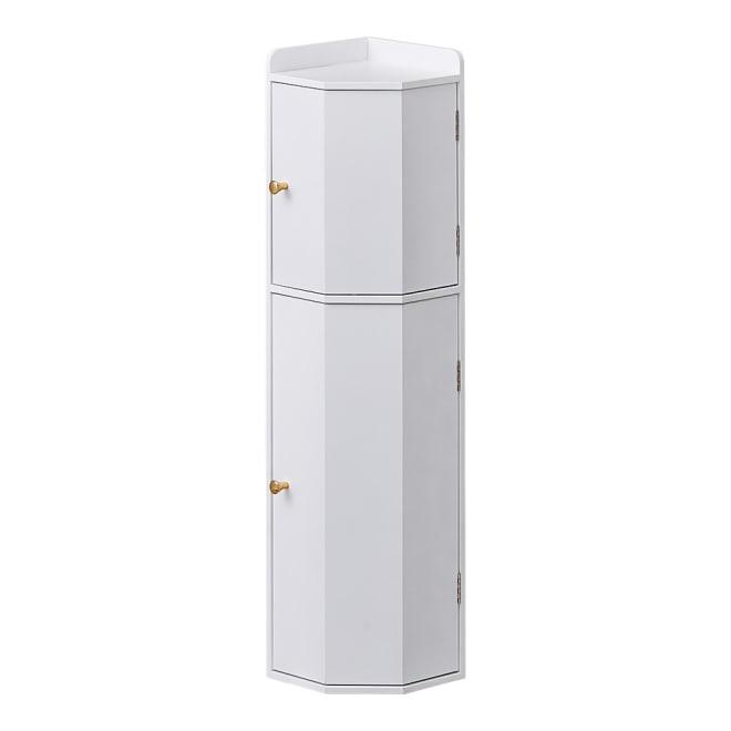 トイレコーナーラック 上部ゴミ箱付き 高さ75cm (ア)ホワイト