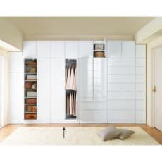 マンションの梁(ハリ)も考慮した壁面ワードローブシリーズ ハンガー2 段 幅77.5cm高さ180cm