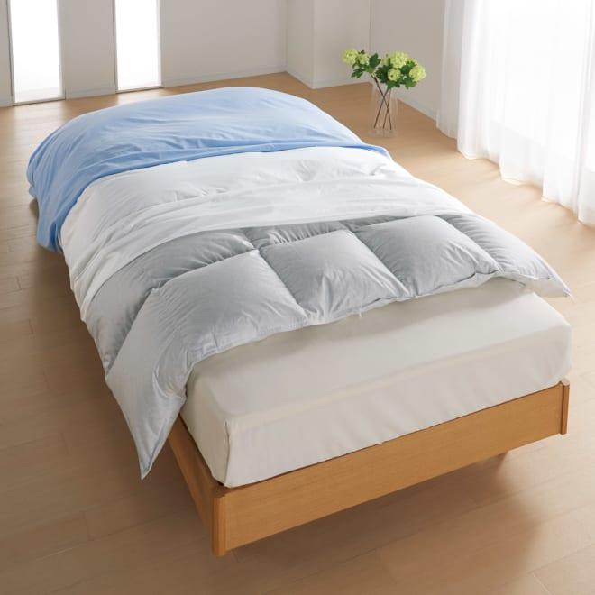 ミクロガード(R)防ダニ用寝具プロテクター 掛け布団用 上からお使いのカバー、プロテクター、お使いの掛け布団。これ1枚で掛け布団をダニから守ります。