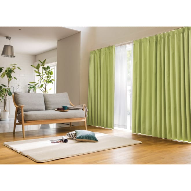 アルミコーティング遮熱・1級遮光ヒートブロック100サイズカーテン 100cm幅(2枚組) (カ)グリーン