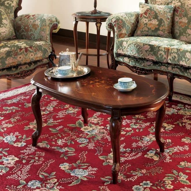イタリア製象がんシリーズ リビングテーブル 幅100cm 猫脚と象嵌の装飾、丸みのある楕円形フォルムが優美なイタリア製のテーブルです。