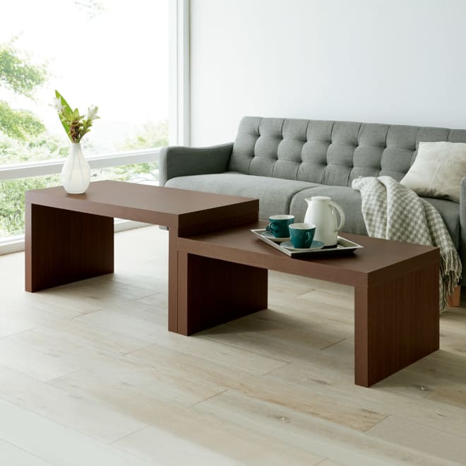 【日本製】北欧スタイルネストテーブル コーディネート例(ア)ブラウン 並べて使えば大きなテーブルに