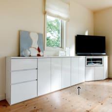 ダイニングテーブルから見やすいハイタイプテレビシリーズ 薄型キャビネット2枚扉 幅59.5cm