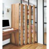 天然木調スライド式すき間収納本棚 コミックタイプ4列セット 写真