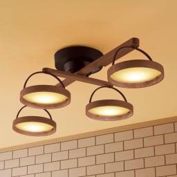 木製LEDシーリングライト (イ)アンティークブラウン 各ライトの角度調整も可能!
