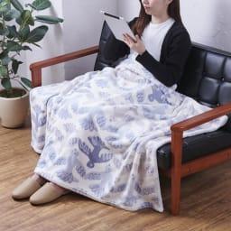 Finlayson/フィンレイソン ニューマイヤー毛布 ムート (ア)ブルー ひざ掛けにちょうどいいサイズ。