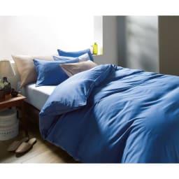 ボーテ超長綿サテンシリーズ ベッドシーツ クイーン コーディネート例(イ)ブルー ※お届けはベッドシーツです。